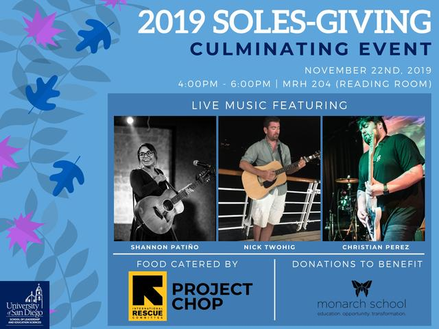 SOLES-giving Culminating Event is happening on November 22nd, 2019 from 4 to 6pm in the Reading Room of Mother Rosalie Hill Hall