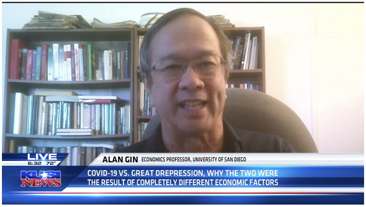 University of San Diego Economics Professor Alan Gin Speaks on KUSI San Diego news segment