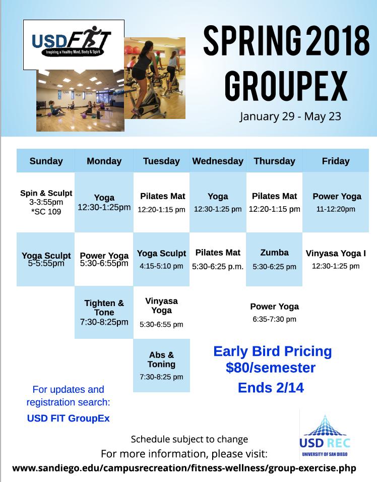 Spring 2018 GroupEx Schedule