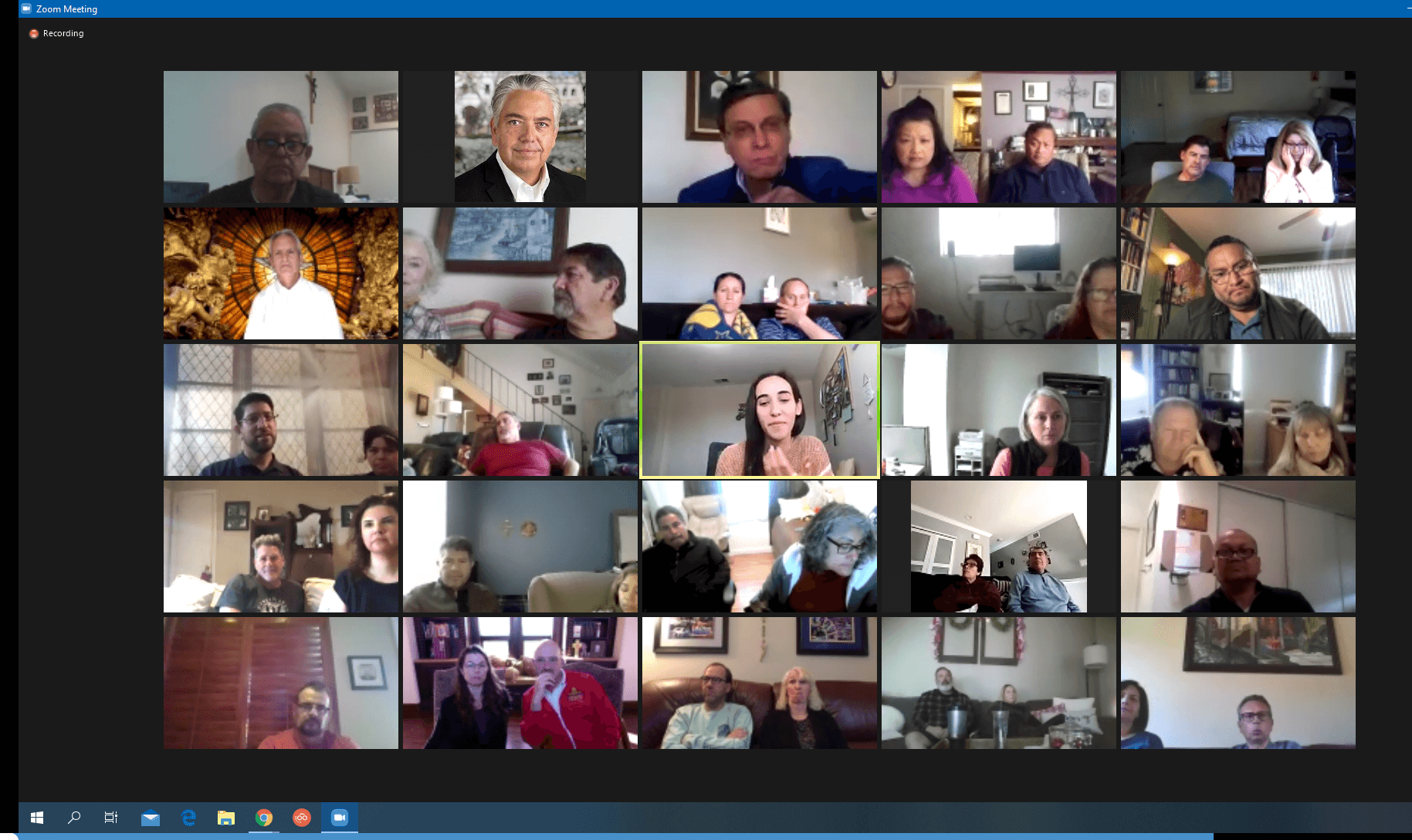 Tanya Ibrahim (center) conducting an hour-long session on engaging youth in mental health ministries for the Diaconate Formation Program over Zoom.