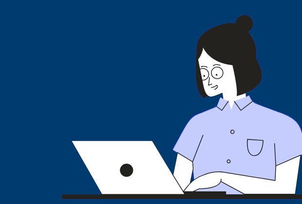 graphic of a woman smiling using a laptop over a blue background