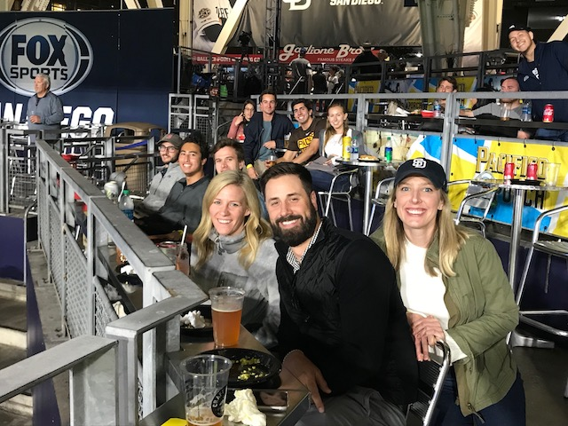 Image of USD real estate students and alumni at the Padres/Mariners baseball game