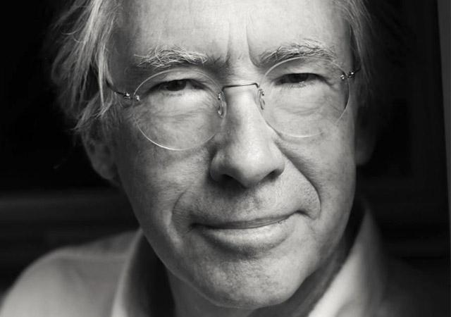 black and white closeup headshot of Ian McEwan