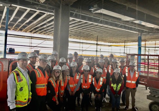 Real Estate Society students , MSRE students and USD alumni tour the Palisade at Westfield UTC