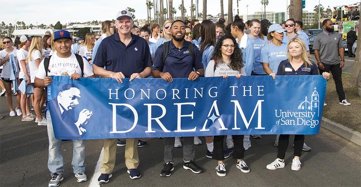 The University of San Diego community is encouraged to walk with us at the 39th annual Martin Luther King Jr. Parade in downtown San Diego on Monday, Jan. 21 from 2 to 4 p.m. Register today!