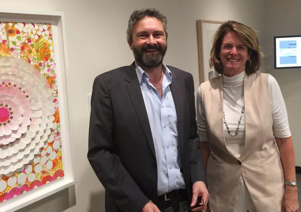 Noelle Norton and Brian Clack stand in the new Humanities Center Gallery