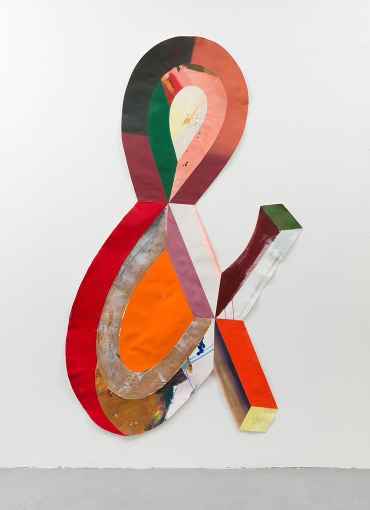 MATT_RICH Ampersand Acrylic on canvas, jute, and muslin 93x56 2018