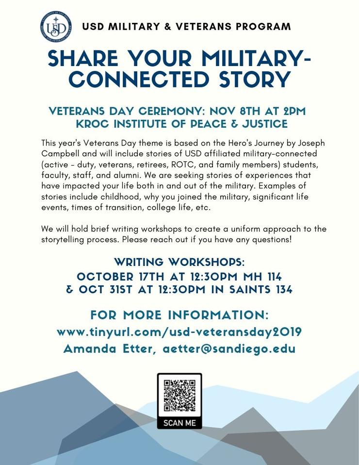 Flyer of the Veterans Day Celebration on Nov 8th, 2019 in KIPJ. We are accepting stories of military-connected students, staff, faculty, and alumni to be featured at our event as part of a gallery.