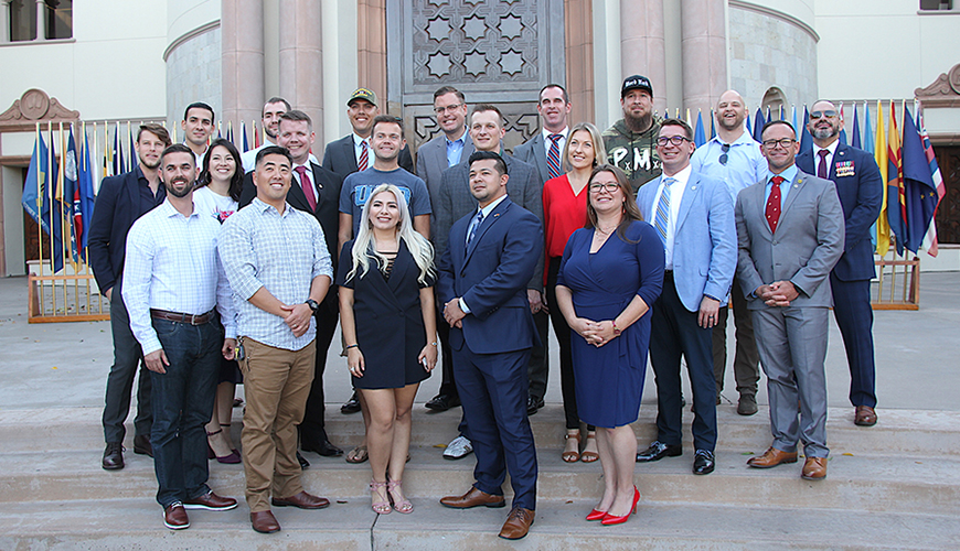 The Military and Veterans Program celebrated current students and alumni at the 2019 Veterans Day ceremony. The program has made progress this year, especially this semester, with campus-wide support.