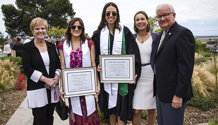 Maria Marxuach-Grillo, Valentina Rivera Muñoz, Paloma Wiethorn Kochan, Dean Patricia Marquez and Antonio Grillo-Lopez celebrate success at Kroc School post-graduation party.