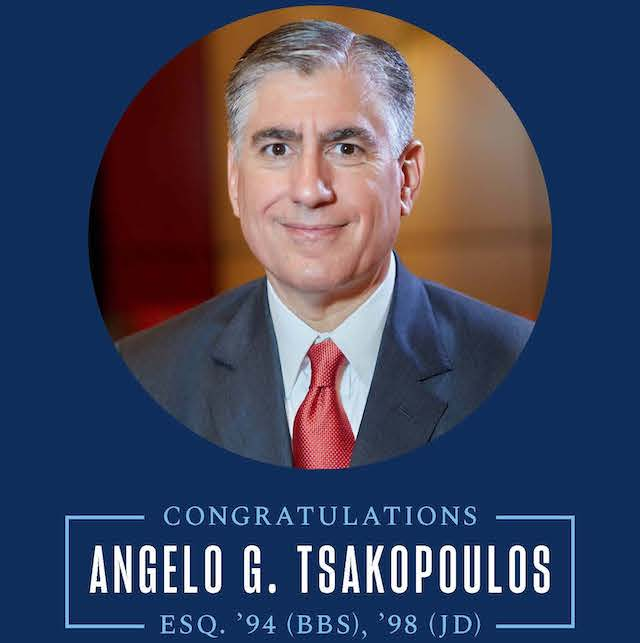Image is a congratulatory message to Angelo Tsakopolous
