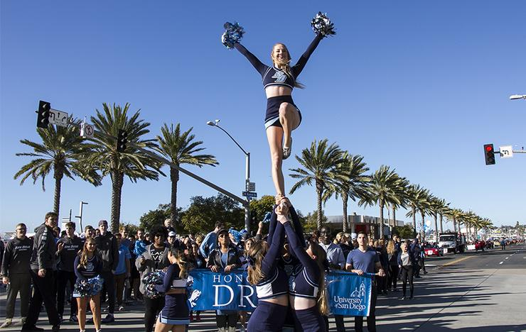 University of San Diego participants in last year's Dr. Martin Luther King Jr. Parade included students, staff, alumni, faculty, administrators and members of the Torero Spirit Team.