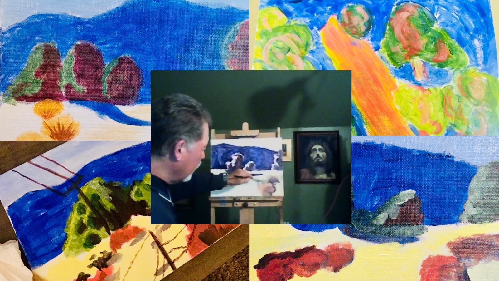 Virtual cheer erupted as artist Richard Gallego led the paint night!