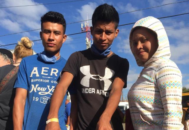 Migrants at the Tijuana-San Diego border