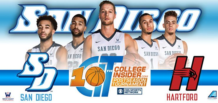 The USD men's basketball team will host University of Hartford in tonight's first-round game of the CollegeInsiders.com Tournament (CIT). Tipoff is at 7 p.m. in the Jenny Craig Pavilion.