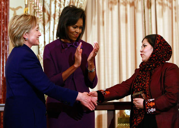 2017 Women PeaceMakers Wazhma Frogh with Secretary Clinton and First Lady Obama