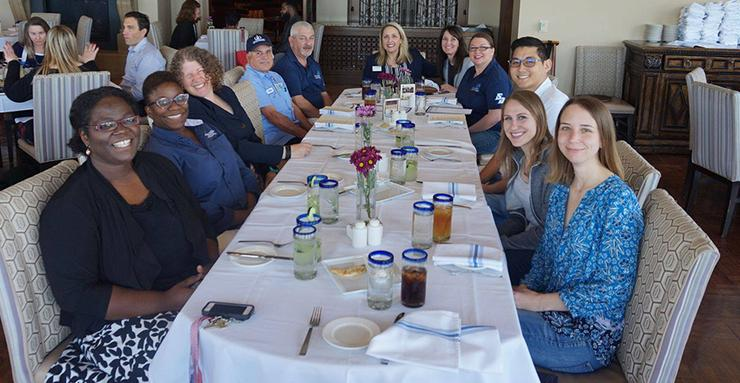 Honorees of the Community of Human Resources gather together for lunch at USD's La Gran Terraza in celebration earlier this year. Employee awards were handed out at the June 7 President's Forum.