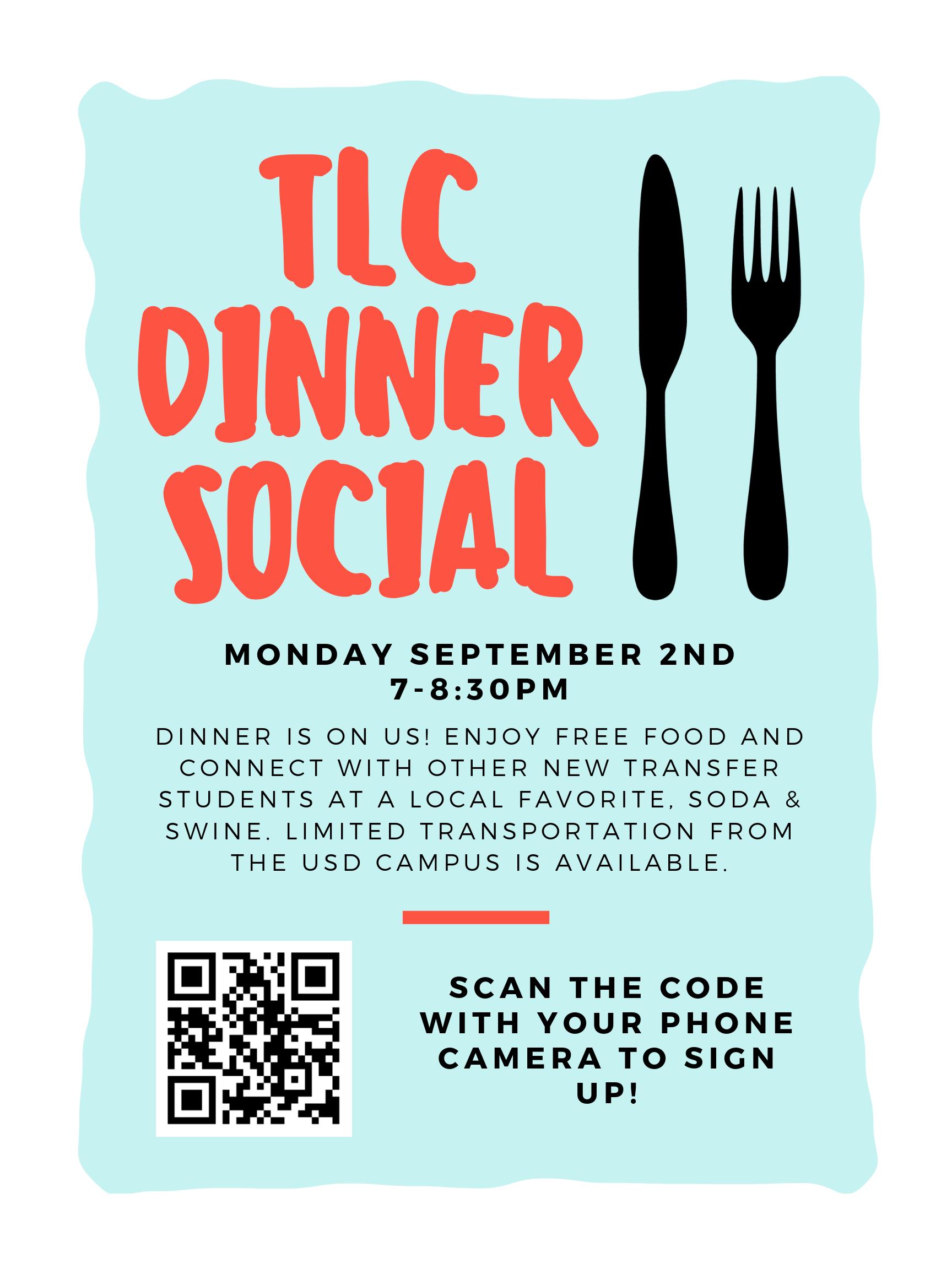 TLC Dinner Social flyer