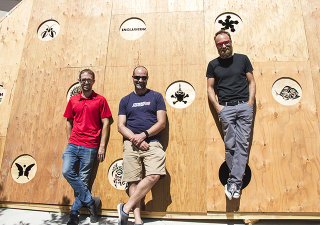 USD Professors (left to right): Gordon Hoople, Nate Parde and Austin Choi-Fitzpatrick are excited about About Time, a sundial that will be on display at Burning Man Aug. 25-Sept. 2.