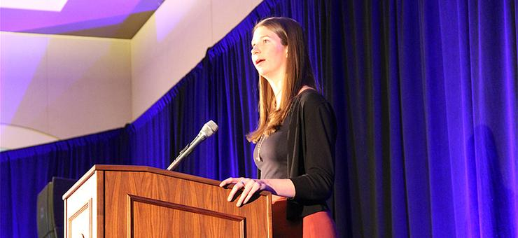 Erin Lupfer, a third-year USD law student, spoke at the USD Scholarship Appreciation Luncheon on March 30. She urged fellow Toreros to support their passions while also helping future Toreros.