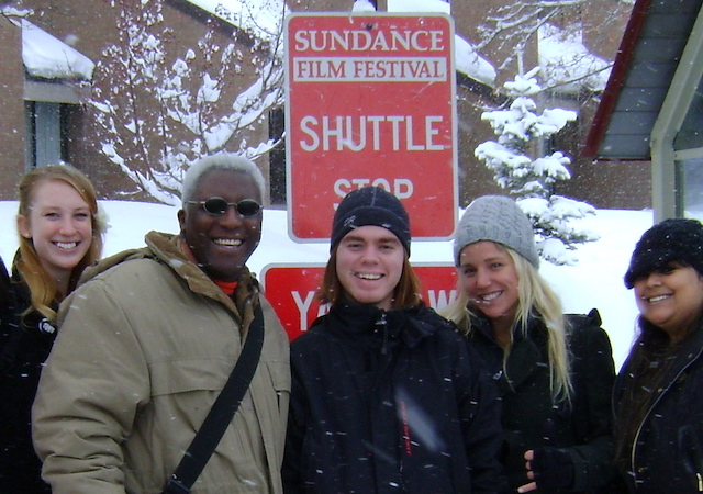 Eric Pierson and students waiting at Sundance Film Festival shuttle stop
