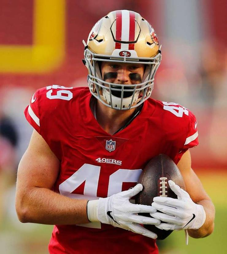 San Francisco 49ers tight end Ross Dwelley