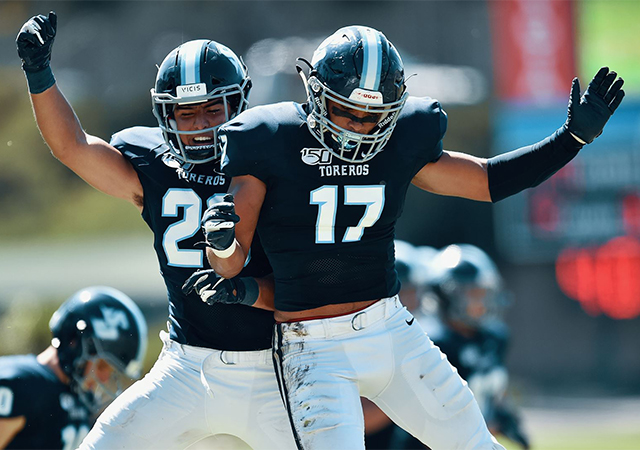 The USD football team had plenty to celebrate in a 31-23 home win over Harvard on Saturday at Torero Stadium.