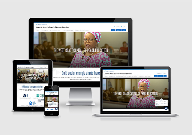 Kroc School website in various viewports
