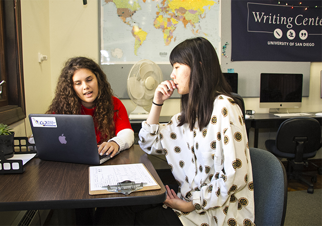 USD's Writing Center is available online to assist students