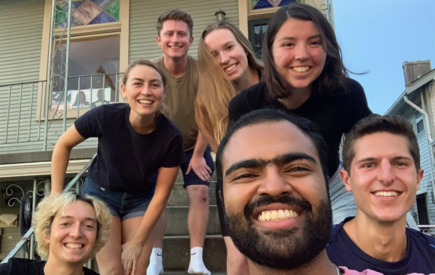 Tomy Vettukallel (front) and Laura Power (fourth row, right) are both new USD alumni who are doing Jesuit Volunteer Corps community service for one year in New Orleans.