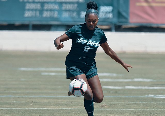 Milan Moses moves the ball forward. Moses is the top USD scorer returning from the 2018 season.