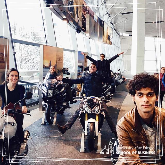 USD MBA students hop on motorcycles at BMW Motorrad in Munich, Germany