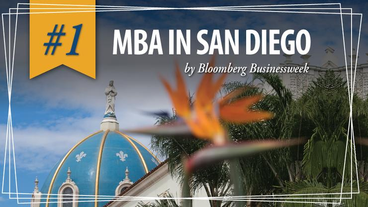 A USD Building with a bird of paradise in the foreground with text overlay announcing that our MBA program in #1 in San Diego