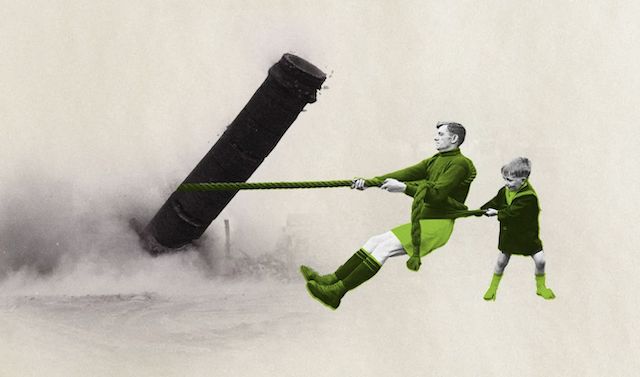 Artistic graphic design showing father and son trying to pull down a smoke stack
