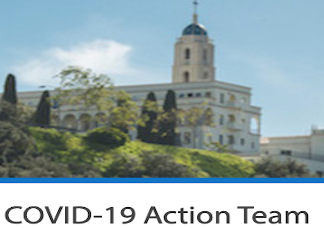 "Image of Immaculata with ""COVID-19 Action Team"" text underneath"