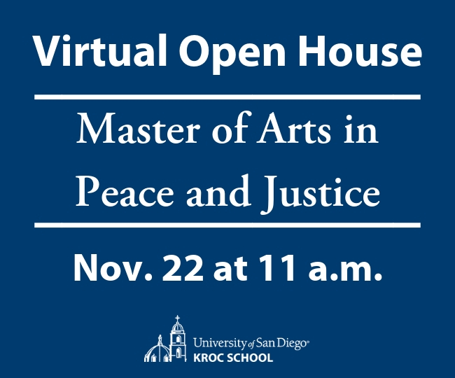 Virtual Open House Master of Arts in Peace and Justice Nov. 22 at 11 a.m.