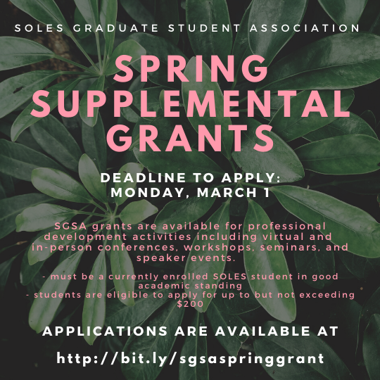 A flyer for SGSA's spring supplemental grants.
