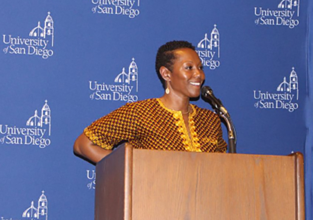 Dr. Monique Morris speaks at Copley Library
