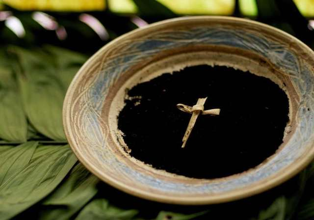 Ashes in a bowl for Ash Wednesday and palms