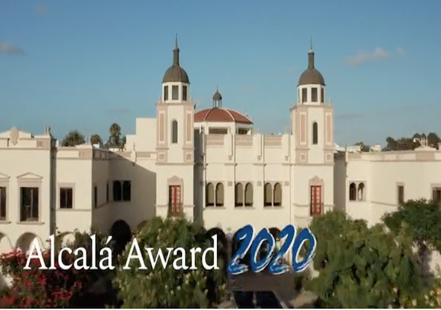 Image of campus with Alcala Award text