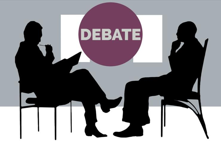 debate with two silhouettes of people in chairs
