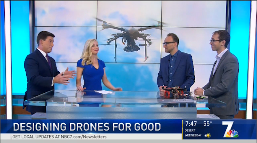 USD Professors Gordon Hoople and Austin Choi-Fitzpatrick discuss their drones for good course on NBC-TV 7.