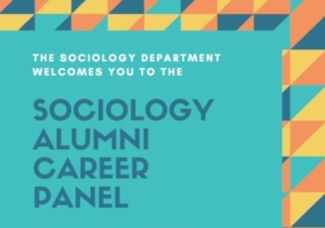 Sociology Alumni Career Panel words on teal background