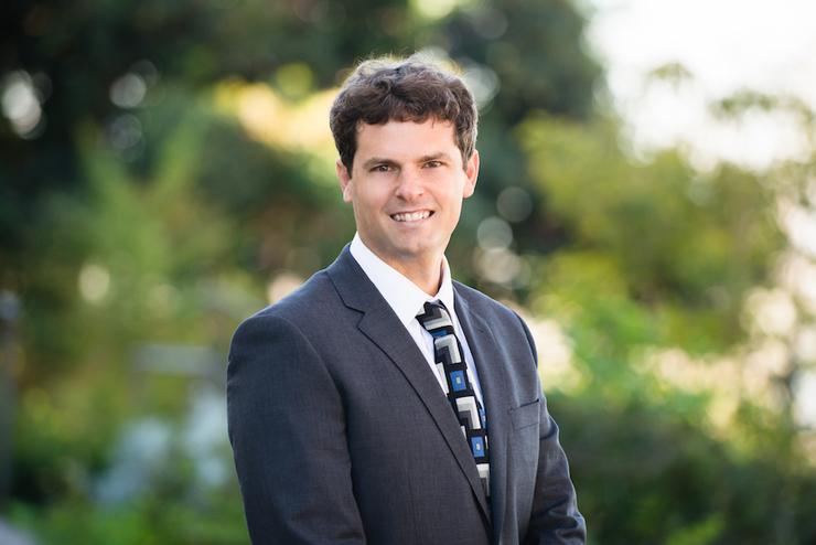 Image is of Jeremy Gabe, Assistant Professor of Real Estate