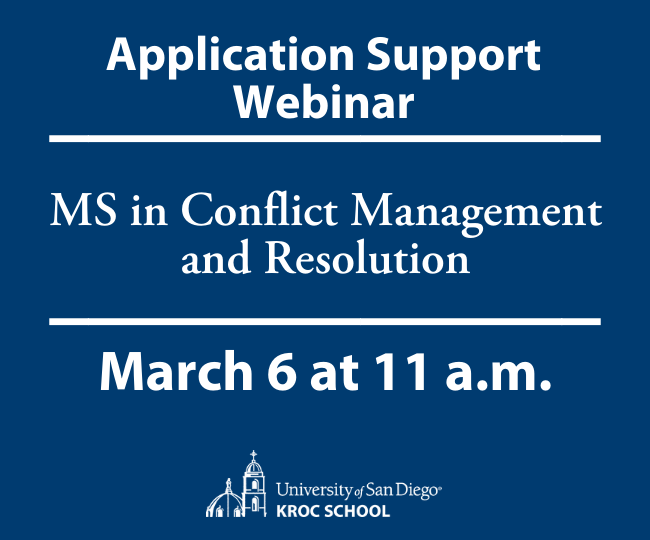 MS in Conflict Management and Resolution Application Support Webinar