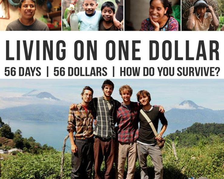 Living on One Dollar movie poster. Four male friends in rural Guatemala.