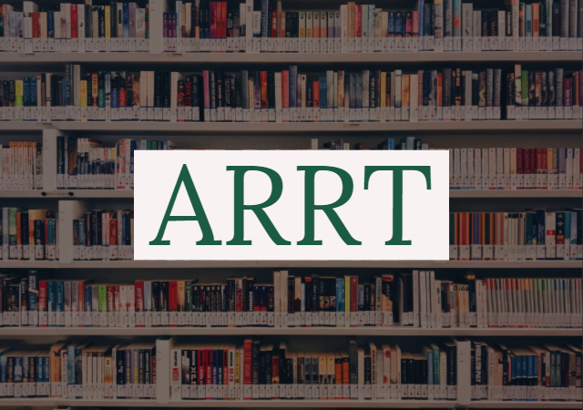 books on a shelf and the letters ARRT