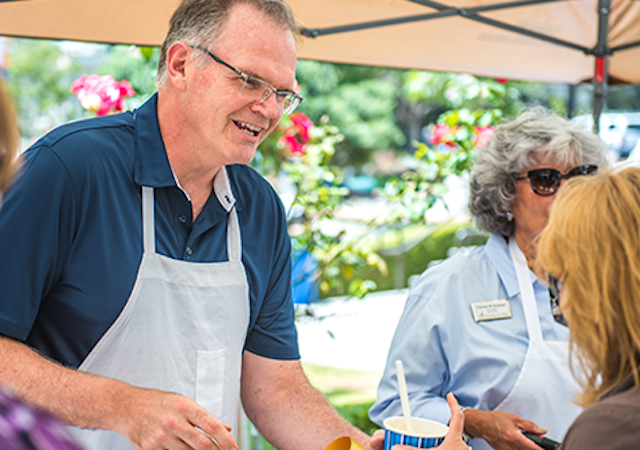 Dr. Harris at the ice-cream social