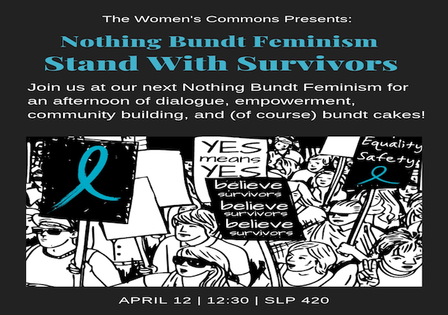 Stand With Survivors: Join us for an afternoon of dialogue and community building. Apr 12, 12:30pm, SLP 420