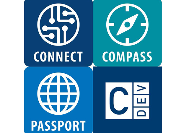 The University of San Diego's Connect, Compass, and Passport program icons